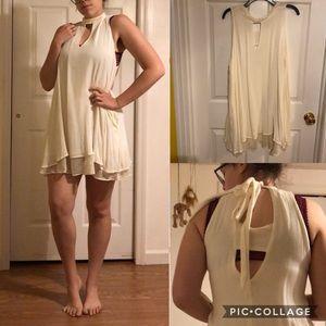 Mock Neck White Dress